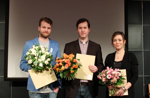 medius 2012, v.l.n.r.: Alexander Rihl, Vertretung von Isabelle Kluge, Antje Bretschneider