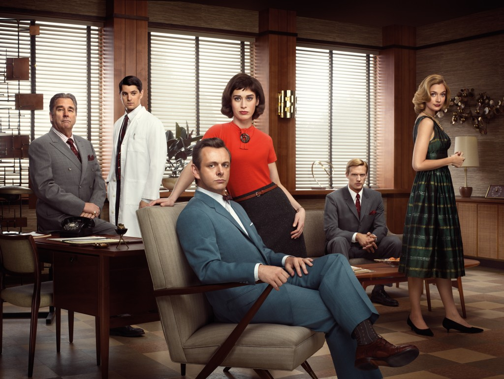 Nicholas D'Agosto as Dr. Ethan Haas, Michael Sheen as Dr. William Masters, Lizzy Caplan as Virginia Johnson, Teddy Sears as Dr. Austin Langham and Caitlin Fitzgerald as Libby Masters in Masters of Sex (season 1) - Photo: Erwin Olaf/SHOWTIME - Photo ID: MOS1_PR04_WAITSIX_4C_300