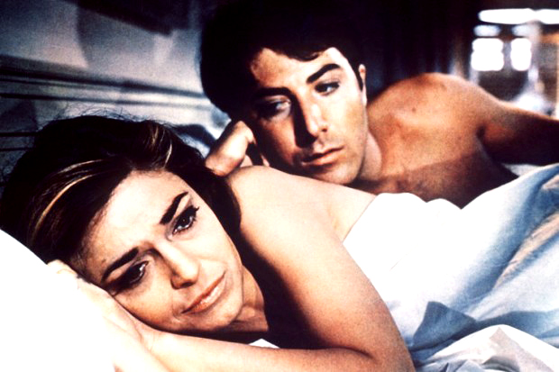 Mike Nichols` Die Reifeprüfung mit Anne Bancroft als Mrs. Robinson und Dustin Hoffman, 1967 (c) dpa