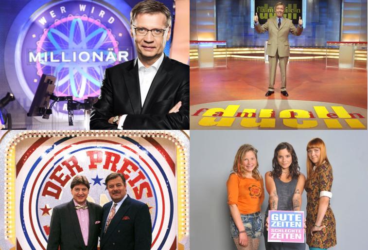 o. li. Wer wird Millionär (c) RTL/Stefan Gregorowius, Das Familienduell, Der Preis ist heiß, u. re. GZSZ (c) RTL/Rolf Baumgartner