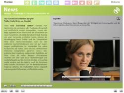 """Screenshot aus der multimedialen DVD-ROM """"Faszination Medien"""", Tagesthemen-Moderatorin Caren Miosga über die Wichtigkeit der Internetquellen © FSF"""