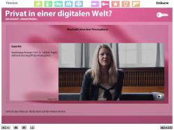 """Screenshot aus der multimedialen DVD-ROM """"Faszination Medien"""", Medienpsychologin Prof. Dr. Sabine Trepte definiert den Begriff Privatsphäre © FSF"""