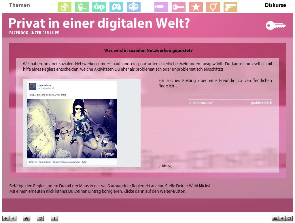 """Screenshot aus der multimedialen DVD-ROM """"Faszination Medien"""", Privat in einer digitalen Welt? Was wird in sozialen Netzwerken gepostet? © FSF"""