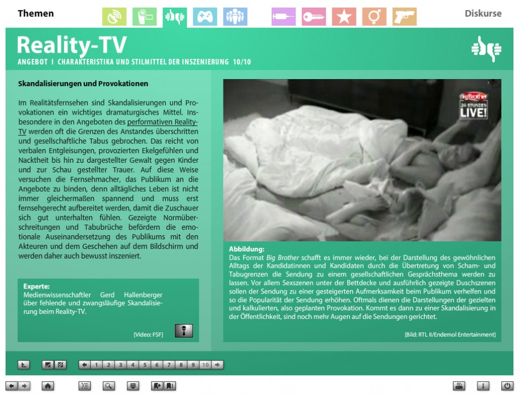 Screenshot aus der DVD-ROM Faszination Medien, Thema: Reality-TV