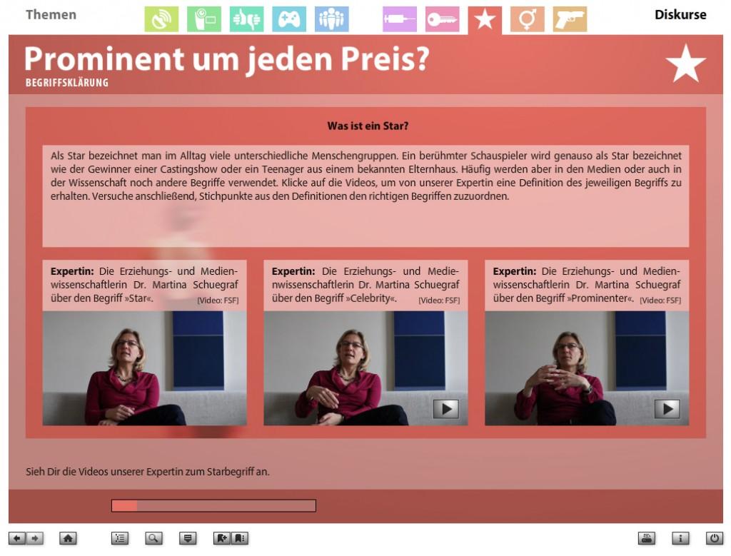 "Screenshot aus der DVD-ROM Faszination Medien, Diskurs ""Prominent um jeden Preis?"" (c) bpb / FSF / Filmuniversität"