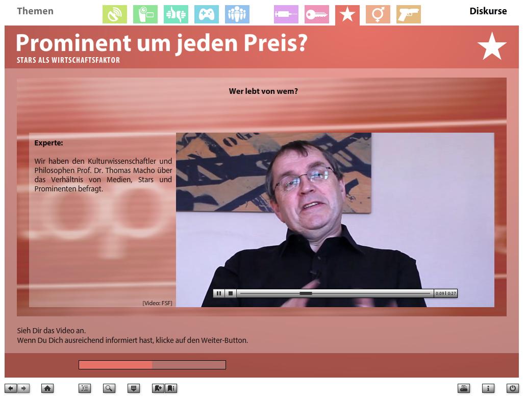 Link zum YouTube-Video: Wer lebt von Wem? Kulutrwissenschaftler und Philosoph Prof. Dr. Thomas Machon über das Verhältnis von Medien, Stars und Prominenten © FSF