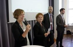 ICC Berlin 2015: Welcome der Veranstalter (v. li.): Claudia Mikat (FSF), Christiane von Wahlert (FSK), Otto Vollmers (FSM), Felix Falk (USK) © photothek.net/Thomas Koehler