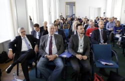 ICC Berlin 2015: 1. Reihe v.l.n.r.: Murad Erdemir (LPR Hessen), Joachim von Gottberg (FSF), Felix Falk (USK), 2. Reihe re.: Otto Vollmers (FSM) © photothek.net/Thomas Koehler