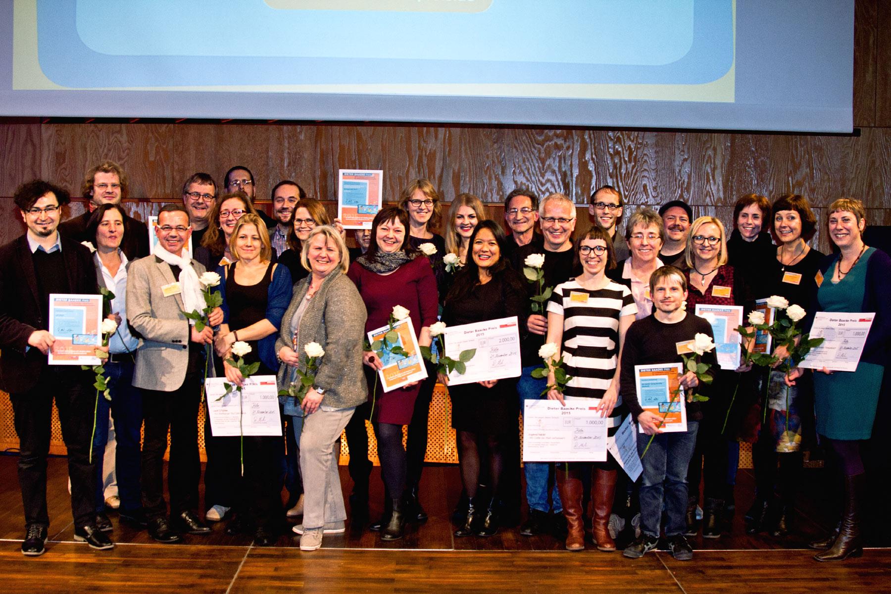 Klickvergrößernd: Preisträger Dieter Baacke Preis während des 32. Forums Kommunikationskultur der GMK 2015 © GMK/Kristin Grunert