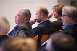 Klickvergrößernd; medien impuls von FSM und FSF am 26.11.2015 mit dem Titel: Nach der Reform ist vor der Reform: Bund und Länder streben eine umfassende Reform des Jugendschutzes an – aber welche? - v.r.n. I.: Joachim von Gottberg (FSF), Otto Vollmers (FSM) und Claudia Mikat (FSF), Reihe dahinter: Dieter Czaja (RTL) © FSF