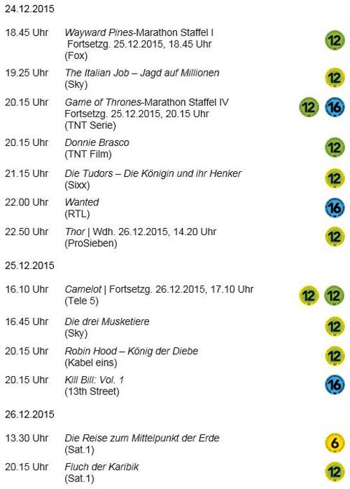 Auswahl Weihnachtsprogramm der FSF-Mitgliedssender mit FSF-Altersfreigaben | alle ProgrammInfos abrufbar unter: http://fsf.de/programmpruefung/entscheidungen/ © FSF