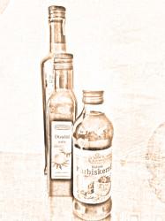 Bebilderung der Kolumne von Klaus-Dieter Felsmann aus der tv diskurs 74. Zu sehen sind drei hintereinander gestellte Olivenölflaschen, bearbeitet zu einer Optik aus reduziertem Sepia-Farumfang. © FSF