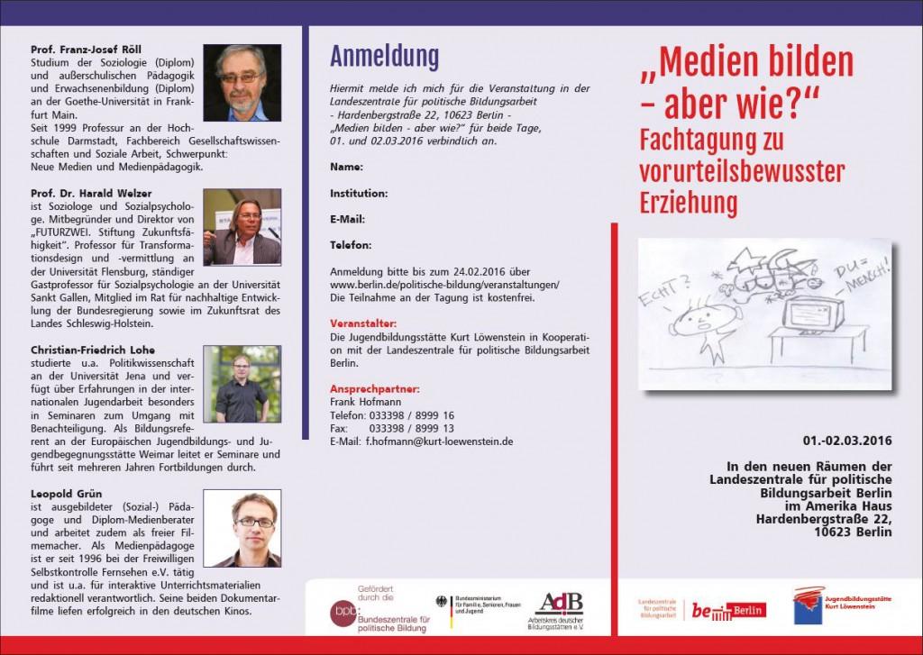 """Flyer zur Fachtagung """"Medien bilden – aber wie?"""" © Jugendbildungsstätte Kurt Löwenstein, Berliner Landeszentrale für politische Bildung"""