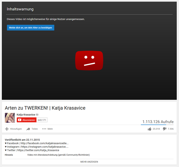 Screenshot YouTube Inhaltswarnung Twerken