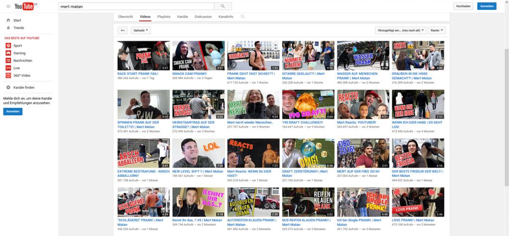Screenshot YouTube Suchergebnis Mert Matan