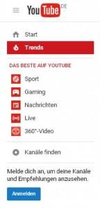 Screenshot Bildausschnitt Startseite YouTube