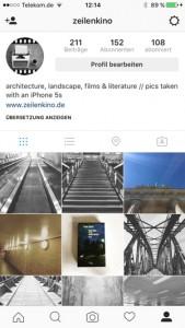 Instagramaccount zeilenkino, Screenshot Autorin Sonja Hartl (@zeilenkino)