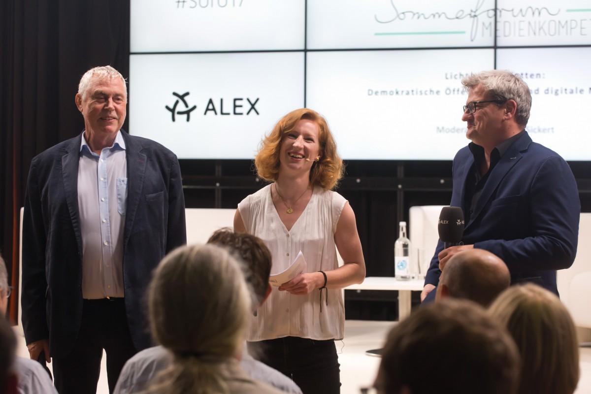 Prof. Joachim von Gottberg (Geschäftsführer FSF), Teresa Sickert (Moderation) und Volker Bach (Leiter ALEX Berlin) #sofo17 © sh/FSF