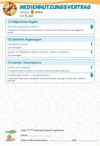 Genannte Beispiele der Autorin im Mediennutzungsvertrag aufgenommen - die Auswahl an Möglichkeiten und Regeln ist vielfältig. Screenshot Mediennutzungsvertrag - ein gemeinsames Angebot der EU-Initiative klicksafe und des Vereins Internet-ABC, abrufbar unter: https://www.mediennutzungsvertrag.de