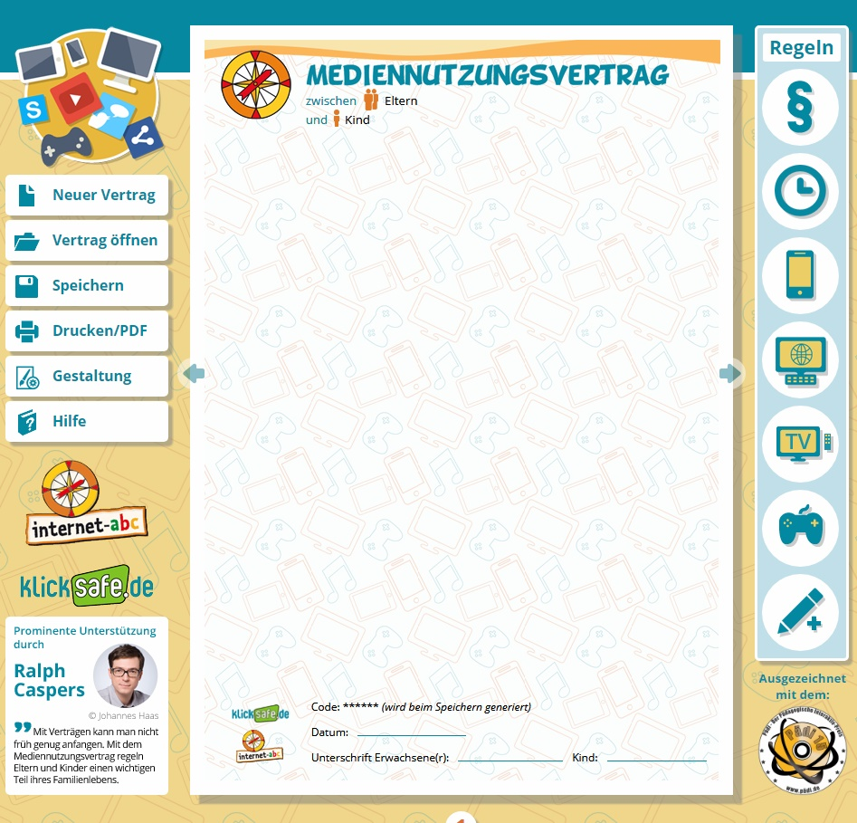 Screenshot www.mediennutzungsvertrag.de - ein gemeinsames Angebot der EU-Initiative klicksafe und des Vereins Internet-ABC, abrufbar unter: https://www.mediennutzungsvertrag.de