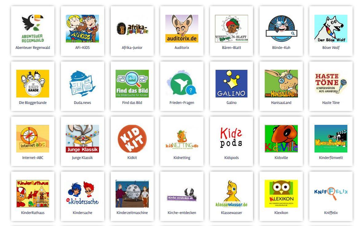 Screenshot seitenstark.de, Ausschnitt Kinderseiten von A-Z Screenshot seitenstark.de, Ausschnitt Kinderseiten von A-Z