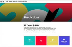 20 Trends für 2020, Predictions 20/20 von nextMedia / Screenshot https://www.nextmedia-hamburg.de/insights/predictions-20-20/