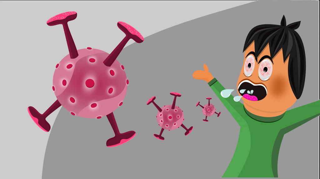 Comicbild mit einem hustenden Menschen und herumfliegenden lila Viren; Symbolbild zum Coronavirus; Bild von badafest auf Pixabay