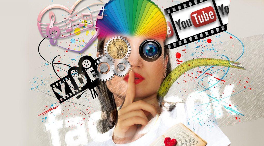 Collage mit vielen bunten Inhalten zu Medienanbietern; Bild von Gerd Altmann auf Pixabay