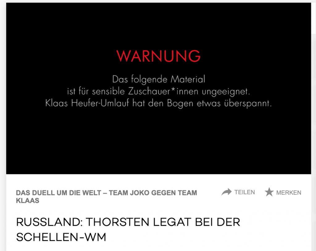 Screenshot Webseite ProSieben mit Warnhinweis während der Sendung: DUELL GEHT UM DIE WELT vom 05. Dezember 2020