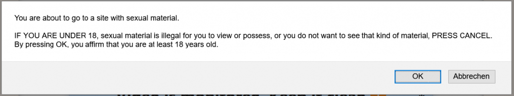 Screenshot: Omegle, Warnung